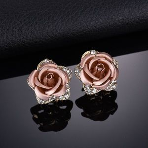 IN STOCK champagne color Rose earrings